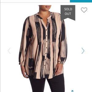 Melissa McCarthy Brushstroke Pattern Pintuck Shirt